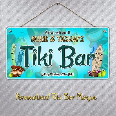 Personalised Tiki Bar Hanging Sign Plaque | Gift Beer Drink Cocktails Beach  • 6.49£