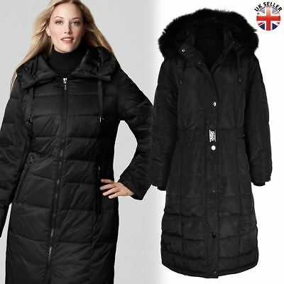 Ladies Womens Plus Size Fur Hooded Quilted Padded Winter Coat Puffa Parka Jacket • 42.99£