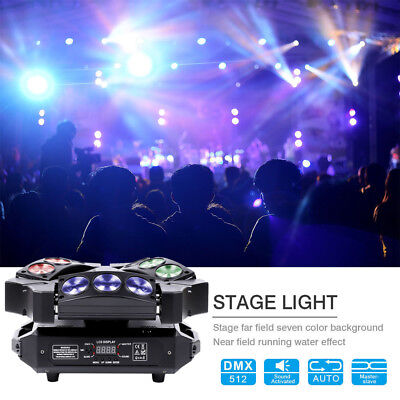 90W 9 LED RGB DJ Spider Moving Head Stage Lighting Beam LED Disco Party Lights • 149.99$