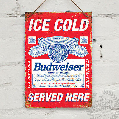 BUDWEISER SERVED HERE BEER Replica Vintage Metal Wall Sign Retro Pub Bar Mancave • 9.96£