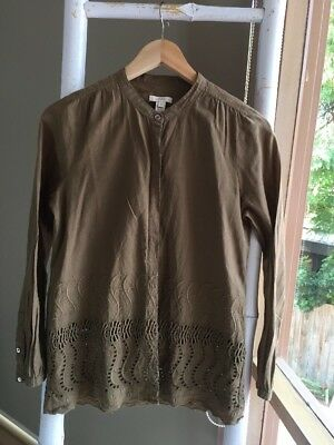AU29.95 • Buy Lovely J CREW Embroidered Button Down Shirt Top Blouse Sz 0 XS EUC