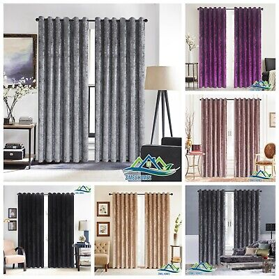Luxury Crushed Velvet Curtains PAIR Fully Lined Eyelet Ring Top Ready Made • 45.88£