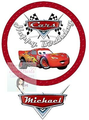Disney Cars Cake Topper Lightning Mcqueen Personalised Edible Icing Print • 5.99£