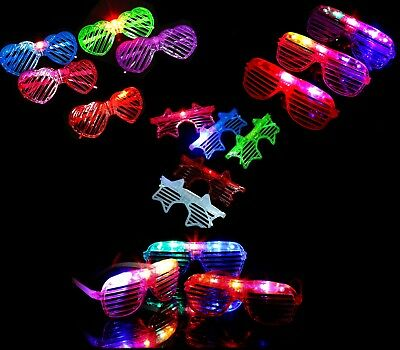 Led Glasses, Light Up, Glowing,party And Club Glasses, Heart And Oval Shape Lot • 2.49£