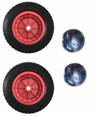 PAIR Of 14  Red PNEUMATIC Wheelbarrow Wheels With 1  Capped Star Clips 3.50-8 • 11.99£
