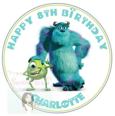Monsters Inc Cake Topper Personalised Round Edible Cake Decoration  • 5.99£