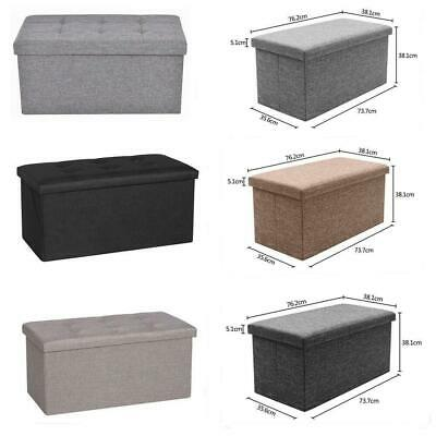 Large Ottoman Foldable Storage Box Linen Suede Foot Stool Seat Durable Colors • 16.95£