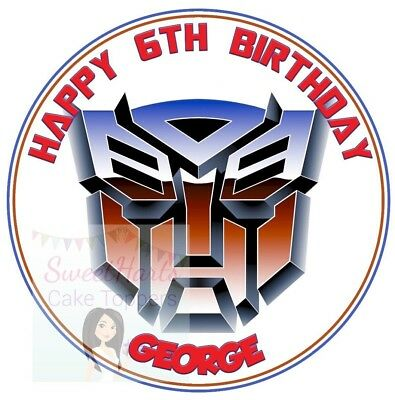 Transformers Cake Topper Personalised Round Edible Cake Decoration  • 5.99£