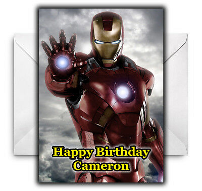 IRON MAN Personalised Birthday / Christmas / Card - Large A5 • 2.99£
