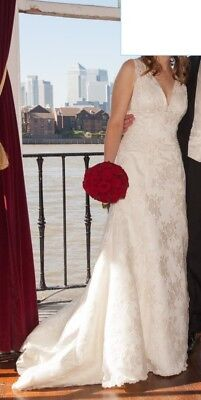 £500 • Buy Beautiful Charlotte Balbier Wedding Dress, Size 10 Or 12, Lace Over Satin, Ivory