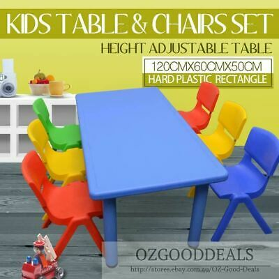 AU139.99 • Buy 120CM Kids Large Toddler Activity Study Dining Playing Table Desk & 6 8 Chairs