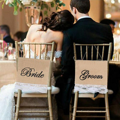 2 Pcs /Set Wedding Accessory Bride And Groom  Lace Banners Chair Decoration • 2.94£