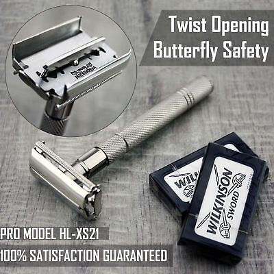$13.45 • Buy Twist Open Butterfly Safety Razor &10 Double Edge Blades Shaving Vintage Tools