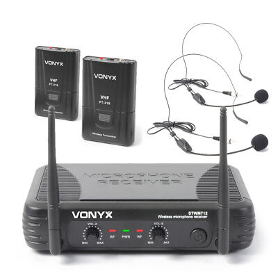 Vonyx 179.178 VHF Wireless Microphone System With Headsets • 53.99£
