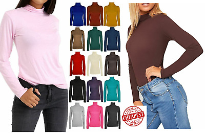 £2.95 • Buy Ladies Womens Polo Neck Turtle Roll High Neck Jumper Party Tops  Size 6-24