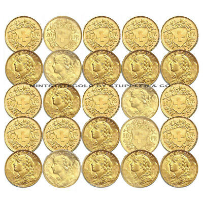 $8464.34 • Buy Lot Of 25 Pre-1933 Swiss HELVETIA 20 Franc Gold Coins BU Brilliant Uncirculated