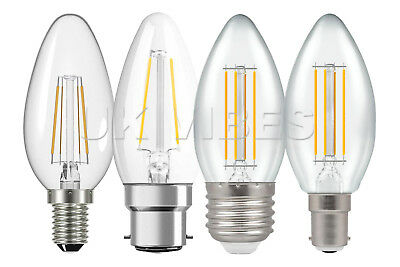 2w 4w Candle Light Bulbs LED Filament Technology Energy Saving Lamps Long Life • 10.99£