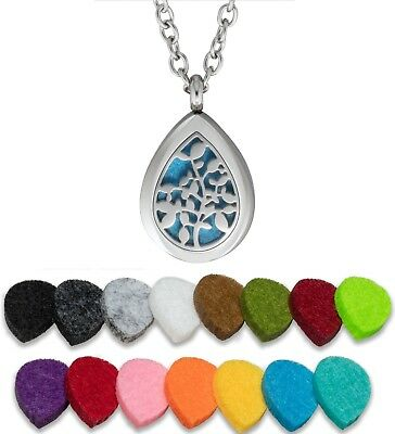 AU15.38 • Buy Essential Oil Diffuser Necklace Pendant Stainless Steel Aromatherapy Tree Drop