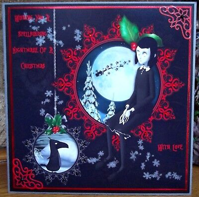 Handmade Personalised Gothic A Night Before Christmas Card & Snowflake Baubles • 5£