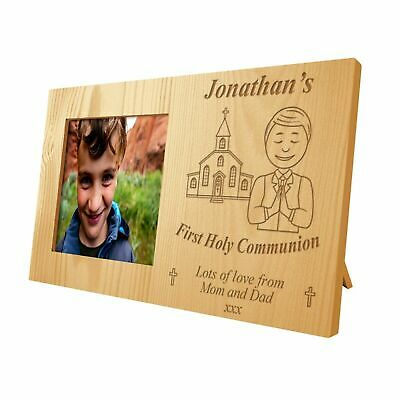 Personalised Boys First Holy Communion Congratulations Wooden Photo Frame Gift • 17.99£