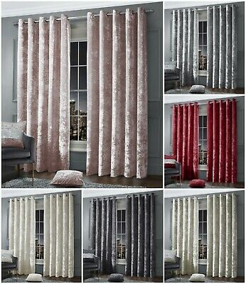 Luxury Crushed Velvet Curtain Pair Eyelet Ring Top Ready Made Fully Lined • 49.95£
