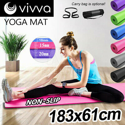 AU25.90 • Buy 10/15/20mm Yoga Mat Pad NBR Thick Fitness Gym Pilate Exercise BONUS CARRYBAG