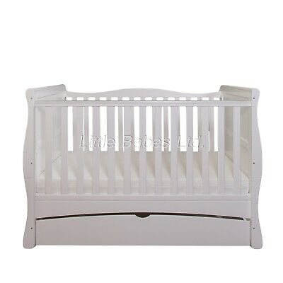 £199 • Buy New Baby White Sleigh MASON Cot Bed With Drawer - Optional Mattress 140x70x10cm