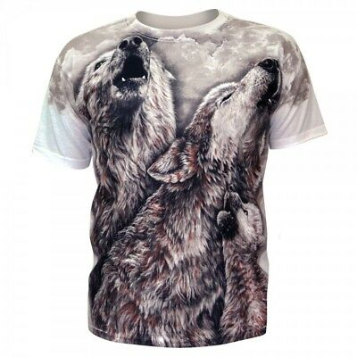 £15 • Buy T-shirt Wolf Animal Volves 3D Moon Mountain Mens Husky Pet Night Collage White