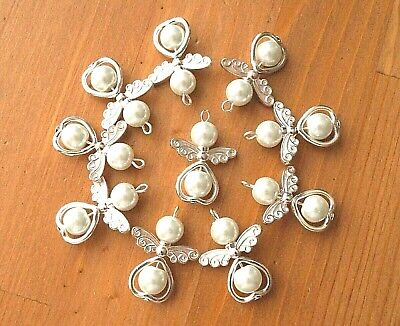 £3.49 • Buy 10 White Angel Charms Pendant Metal Heart Pearl Beads Xmas Tree Decoration