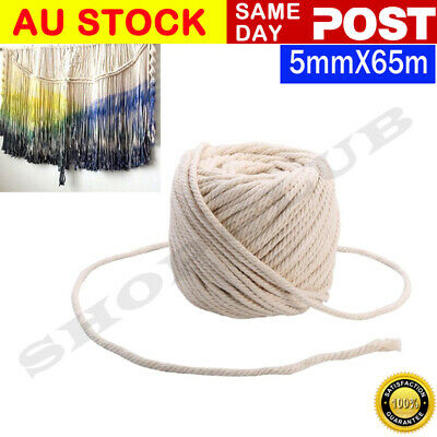 AU22.50 • Buy 5mm/65M Macrame Rope Natural Beige Cotton Twisted Cord Artisan Hand Craft New