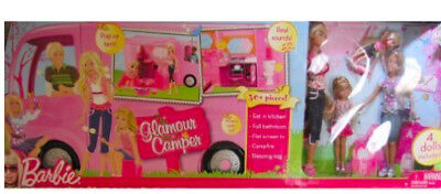 $359 • Buy NEW Barbie Camper RV Pink Vacation Glamour Van 2008 With Dollsl Pop Out Tent