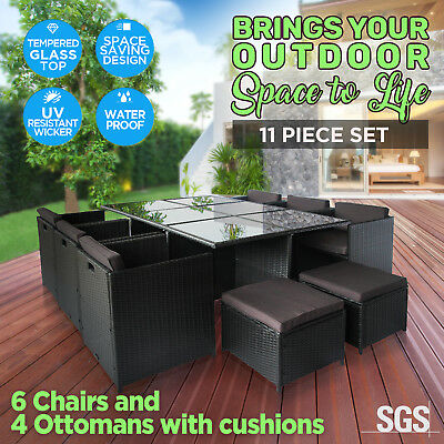 AU639 • Buy 11pc Outdoor Furniture PE Wicker Dining Table Set Garden Patio Pool Setting