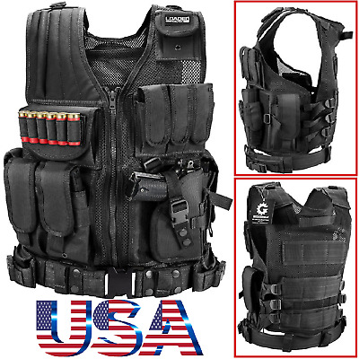 $39.99 • Buy Military Vest Tactical Plate Carrier Holster Police Molle Assault Combat Gear