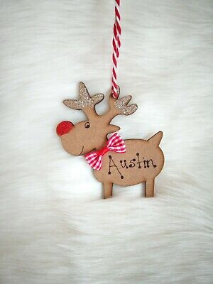 £2.49 • Buy Personalised Reindeer Christmas Tree Decoration Decorated Childs Name Bauble