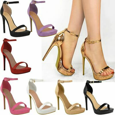 Womens Ladies Platform High Heel Stiletto Sandals Sexy Party Prom Shoes Size New • 22.99£