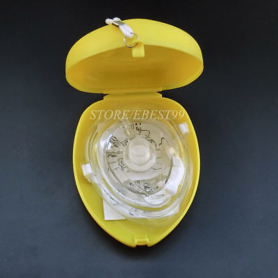 1x Yellow CPR Pocket Face Shield Resuscitator Rescue Cpr Kit Face Shield • 3.99£