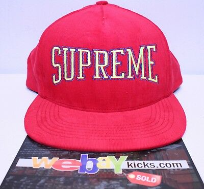$ CDN88.59 • Buy Supreme New York Dotted Arc 5 Panel Red Yellow Snapback Cap Hat FW17H54 New