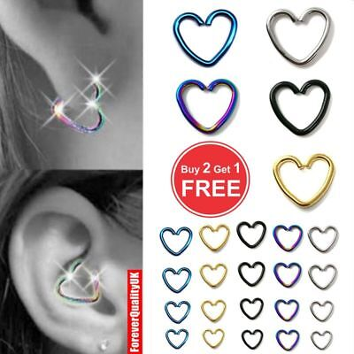 SurgicalSteel Heart Piercing Earring Helix Cartilage Ring Tragus Daith Ring Hoop • 0.99£