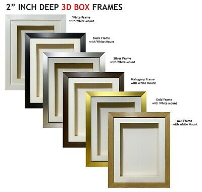 2 Inch Deep Shadow 3D Box Picture Frame - White Mount • 41£