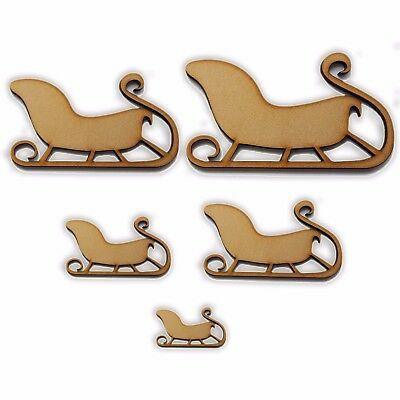 Wooden Christmas Sleigh MDF Wooden Laser Cut Craft Blanks Xmas Shapes 5 Sizes • 1.75£