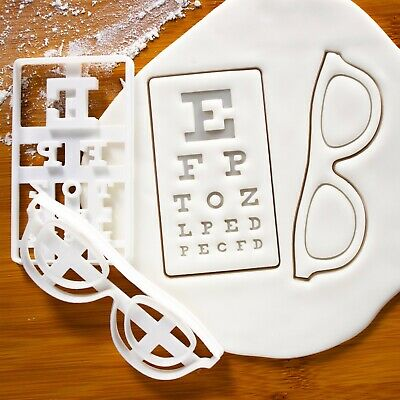Set Of 2 Cookie Cutters: Spectacles &  Snellen Chart | Eye Optician Eyeglasses • 16.92£