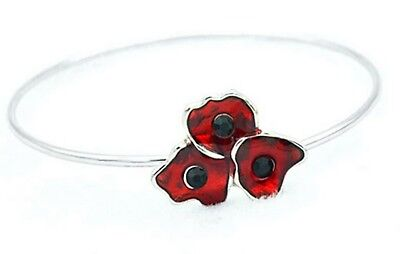 NEW Gorgeous Red Poppy Remembrance Flower Silver Metal Bangle Bracelet • 3.99£