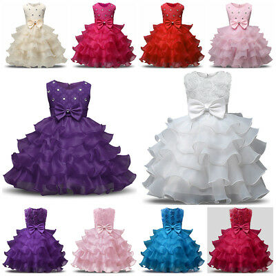 £14.99 • Buy Communion Princess Baby Girls Dress Gown Bridesmaid Wedding Party Kids Clothes