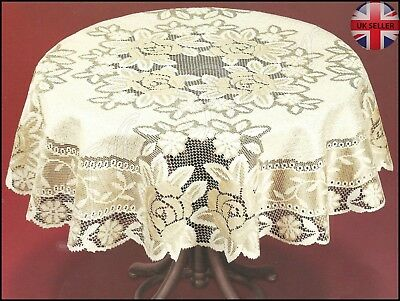 Tablecloth Round Lace Cream/dark Gold NEW Ø120 (47 ) Fantastic Christmas Gift • 14.99£