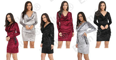 Womens Cocktail Velvet Side Lace Ladies Evening Party Long Sleeve Dress • 11.99£