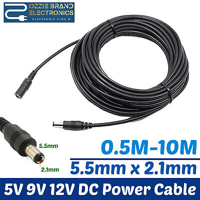 £6.99 • Buy Extension Lead Cable Cord For Ac/dc 5v 9v 12v Power Supply Adapters 5.5x2.1 Tip