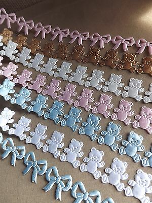 Satin Cut Out Teddy Ribbon Baby Christening Newborn Cards Cakes Favors Boy Girl • 0.99£