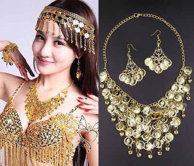 £4.99 • Buy Bollywood Belly Dance Gold Circles Chain Pendant Necklace Earrings Jewelry Set