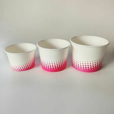 8oz/12oz/16oz Ice Cream Paper Cups, White & Pink Printed Dessert Container Tubs • 9.86£