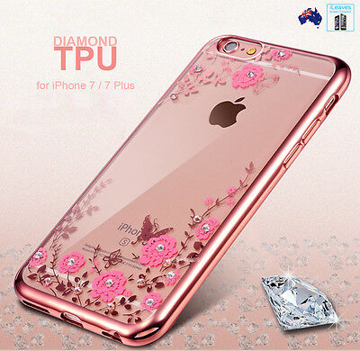 AU4.99 • Buy IPhone SE 8 7 Case Diamond Flower TPU Plating Ring Stand Clear Cover Xs Max